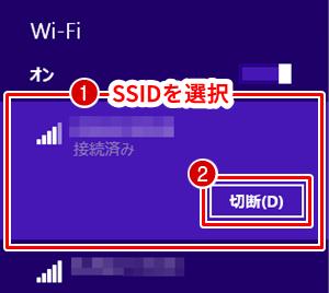 Windows 8.1 接続中のネットワークを切断する